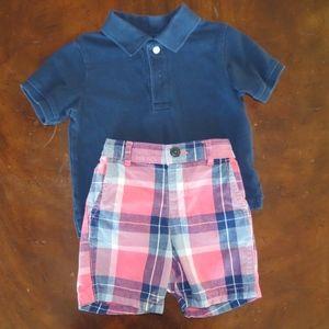 Childrens Place 2T plaid shorts navy polo shirt